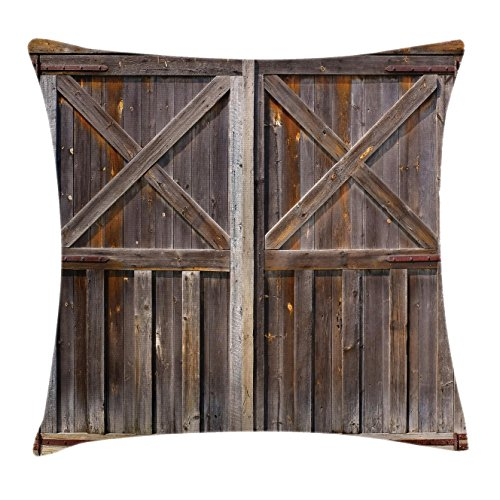 Ambesonne Rustic Throw Pillow Cushion Cover, Old Wooden Barn Door of Farmhouse Oak Countryside Village Board Rural Life Photo Print, Decorative Square Accent Pillow Case, 20 X 20 Inches, Brown