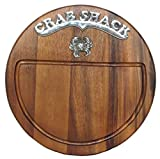 "Round Wood Cutting Board w/ Metal Crab Shack & Crab Motif - 13""D"