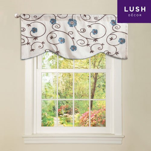 Lush Decor Royal Garden Window Treatment Valance, Blue