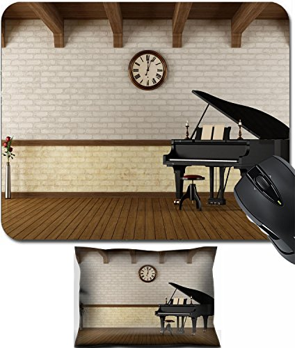 MSD Mouse Wrist Rest and Small Mousepad Set, 2pc Wrist Support design 23081441 Grand piano in a empty vintage room rendering