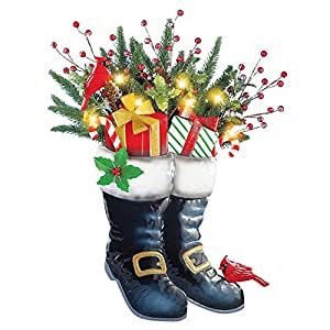 Santa's Boots Solar Outdoor Christmas Decoration