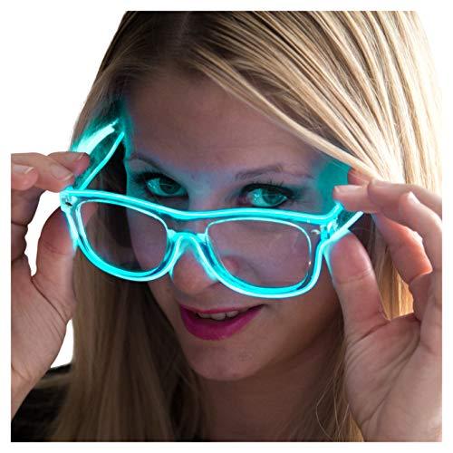Neon Nightlife Aqua Frame/Clear Lens Light Up Glasses