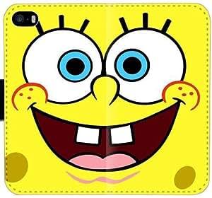 Funda de cuero caja de la carpeta Bob Esponja D8I4Y Funda iPhone 4 4S L5l1B8 único teléfono del tirón de la funda para chicos