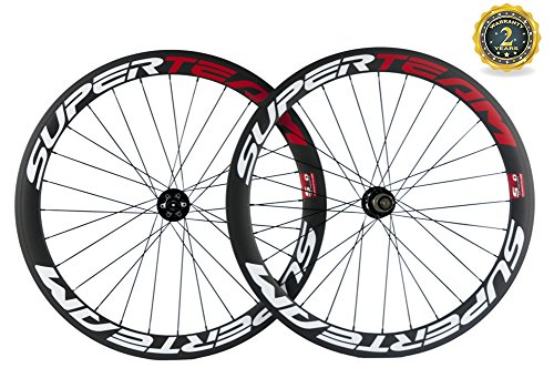 Superteam Carbon Road Bike Wheelset 50mm 700c Clincher Wheel with Disc Brake Hub