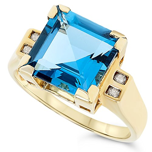 14k Yellow Gold Square Shape London Blue Topaz and Diamond Ring, Birthstone of ()