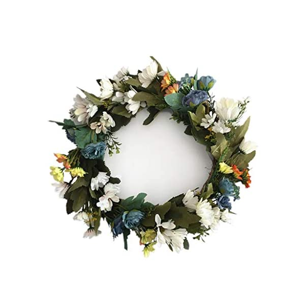 36cm Simulation Silk Flower Small Chrysanthemum Wildflower Wreath Door Link Day Wedding Decoration Living Room Hanging Wall Decoration Wedding Decoration Living Room Wall Background Blossoming Flowers
