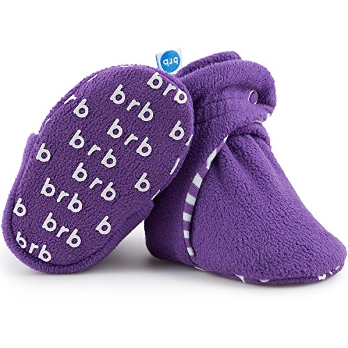 Grapes Non Skid - Fleece Baby Booties - Organic Cotton & Gripper Bottoms, Cozy Boys & Girls Bootie (US 1, Grape)