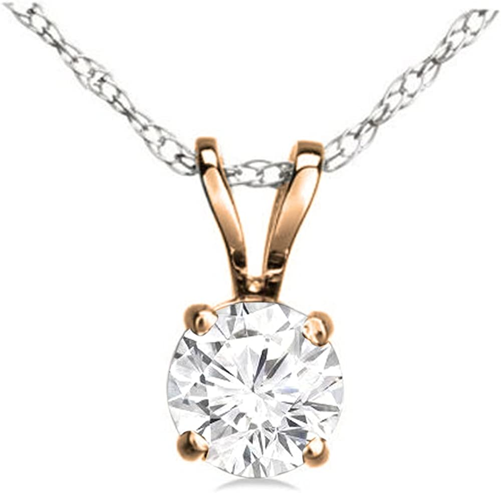 Details about  /0.25 Ct Round Cut Diamond 14Kt Yellow Gold Solitaire Pendant 0.51 in