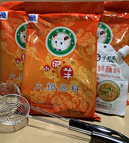(Little Sheep Hot Pot Soup Base With Dipping Sauce And 2 pcs Strianer ladleCombo Set (Spicy Soup Base))