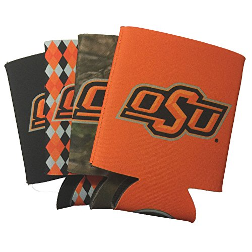 NCAA 4-Pack Multi Color Sublimated Neoprene Beverage 12oz Insulated Can Hugger (Oklahoma State - Oklahoma Pattern State