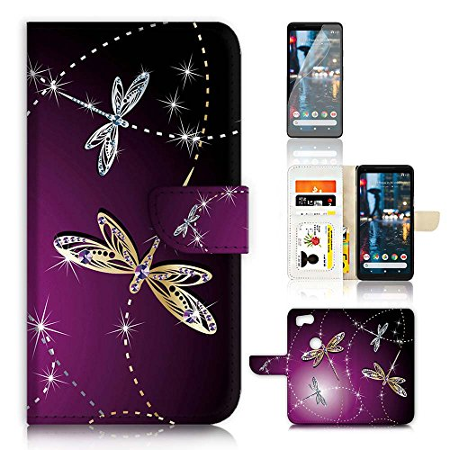 (For Google Pixel 2) Flip Wallet Case Cover & Screen Protector Bundle - A20232 Purple Dragonfly by Pinky Beauty Australia