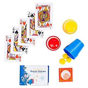 Learn & Climb Magic Tricks for Kids- Set of 3 Unique Props kit Includes Cups & Balls Trick, Escaping Coin Trick, Magical Mind Reading Cards Illusion & Easy Instructions.