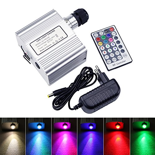 10W Twinkle Engine Driver, CREE LED RGBW Light Source with RF 28 Key Remote Control for Fiber Optic Lighting Star Ceiling Kit - Fiber Optic Curtain
