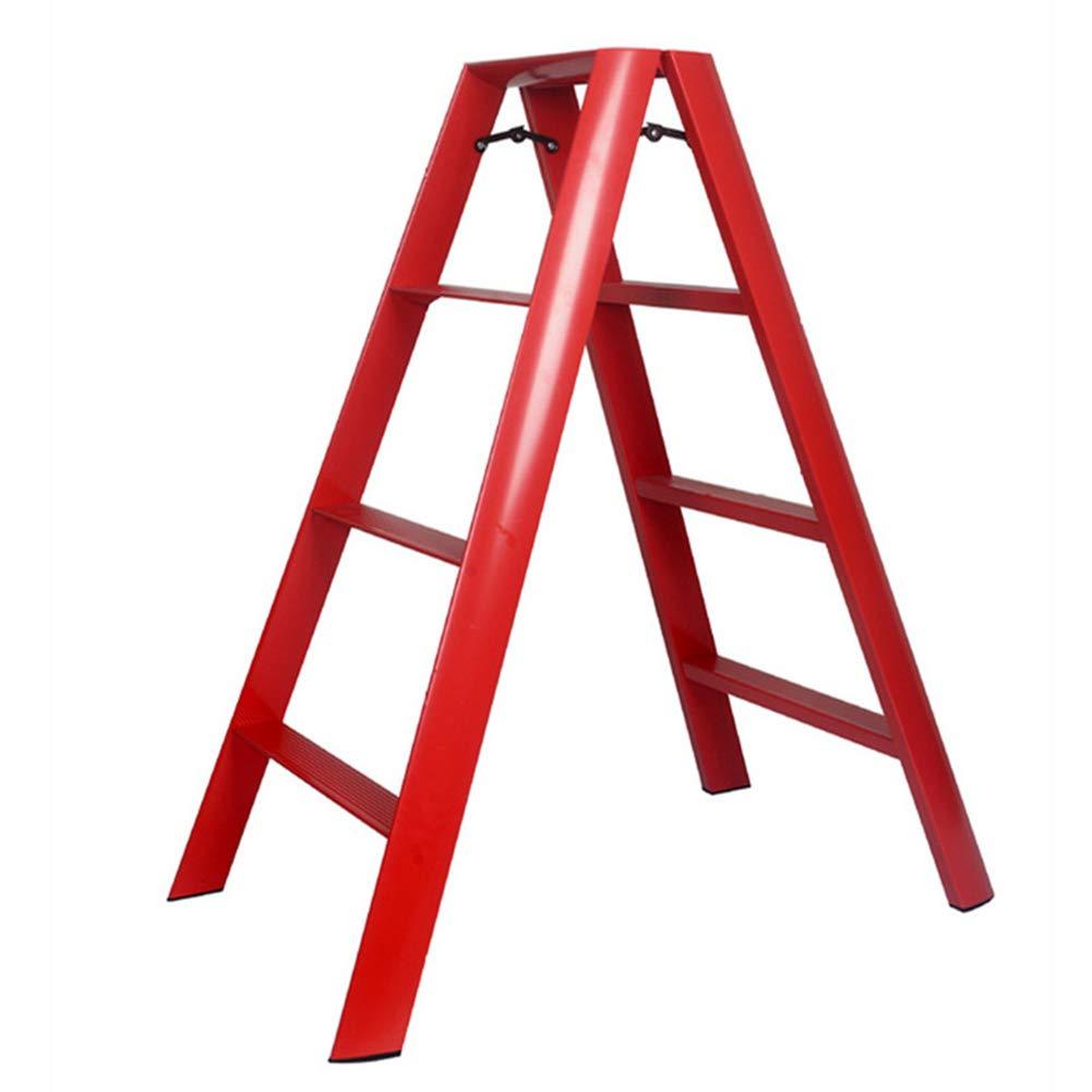 ZENGAI ステップスツール 世帯 四段はしご 屋内 椅子 安定している スペースを節約 和風 (色 : 赤) B07PZBQD3D 赤