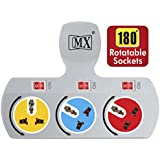 MX 3 Socket Universal Multi Plug, 5 A with Rotatable Sockets and Individual Switch (Colour May Vary)