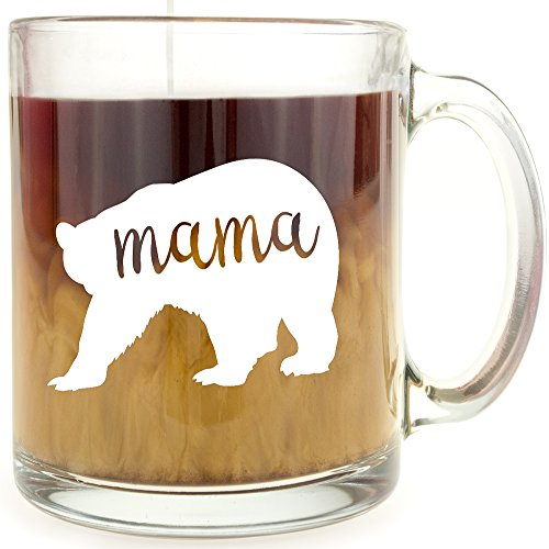 Mama Bear - Glass Coffee Mug - Makes a Great Gift for Mom!