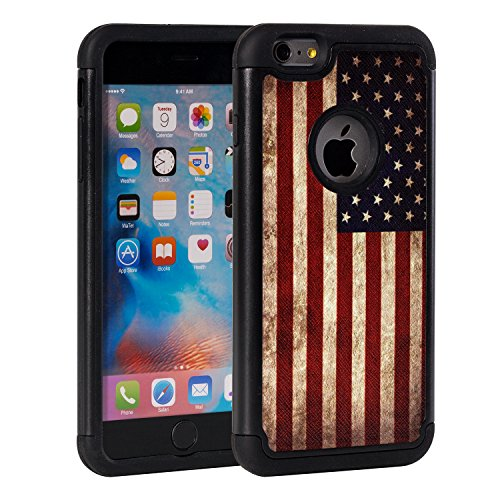 iPhone 6s Case,iPhone 6 Case,Rossy Retro Vintage Old USA American Flag Design Shock-Absorption Hard PC Soft Silicone Dual Layer Hybrid Armor Defender Protective Case Cover for Apple iPhone 6/6s - Flag Retro