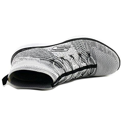 Skechers Zandloper Dames Witte Textiel Atletische Slip Op Trainingsschoenen Wit / Zwart