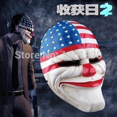2015 - Resin PAYDAY 2 dallas US National flag MASK joker clown costume Heist Adventure support