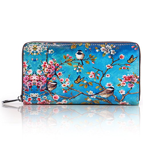 APHISON Card Holder Zipper Purse Women Phone Clutch Wallet Painting Wristlet with Wrist Strap