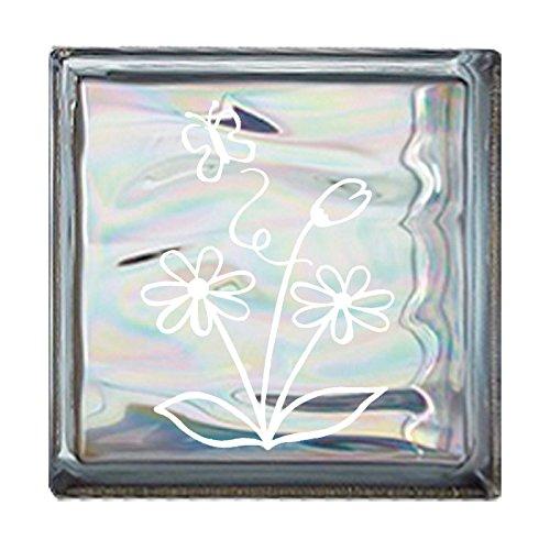 ガラスブロック 屋外壁 間仕切壁日本 デザインガラスブロック 柄:蝶 色:ウェービーグレー 1個単位 190×190×80mm B0793QXKNQ
