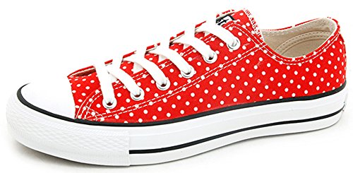 IDIFU Women's Comfy Polka Dots Lace Up Canvas Sneakers Low Top Flat Casual Walking Shoes Red 7.5 B(M) US (Sneaker Dot Fashion)
