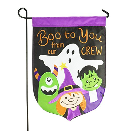 LAYOER Home Garden Flag 13 x 18 Inch Halloween Boo Decorative Double-Sided Embroidered Applique 12 x 18 Inch ()