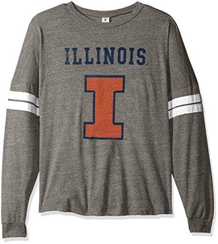 NCAA Illinois Illini Betty Long Sleeve Tri-Blend Football Jersey T-Shirt, Medium, Tri Grey/White