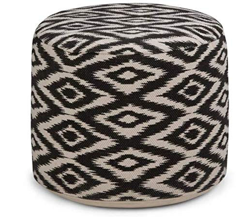 CCT Global Sourcing Dunham Round Pouf Diamond Patterned White/Black Cotton - Wyndenhall by CCT Global Sourcing