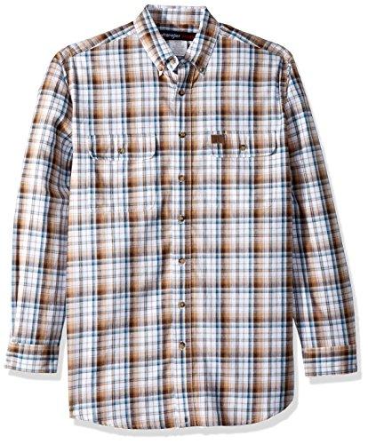 Wrangler Men's Big and Tall Riggs Workwear Foreman Long Sleeve Work Shirt, Brown, LT
