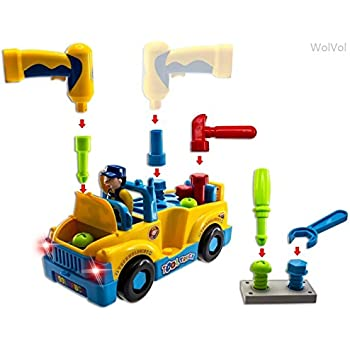 wolvol truck tools toy equipped with electric drill and various tools lights and music
