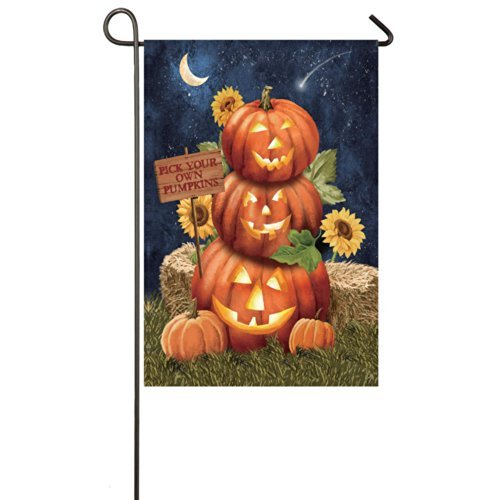 Gifted Living 14S3101FB Halloween Pumpkins Two Sided Garden Flag]()