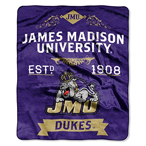 The Northwest Company NCAA James Madison Dukes Label Plush Raschel Throw, 50