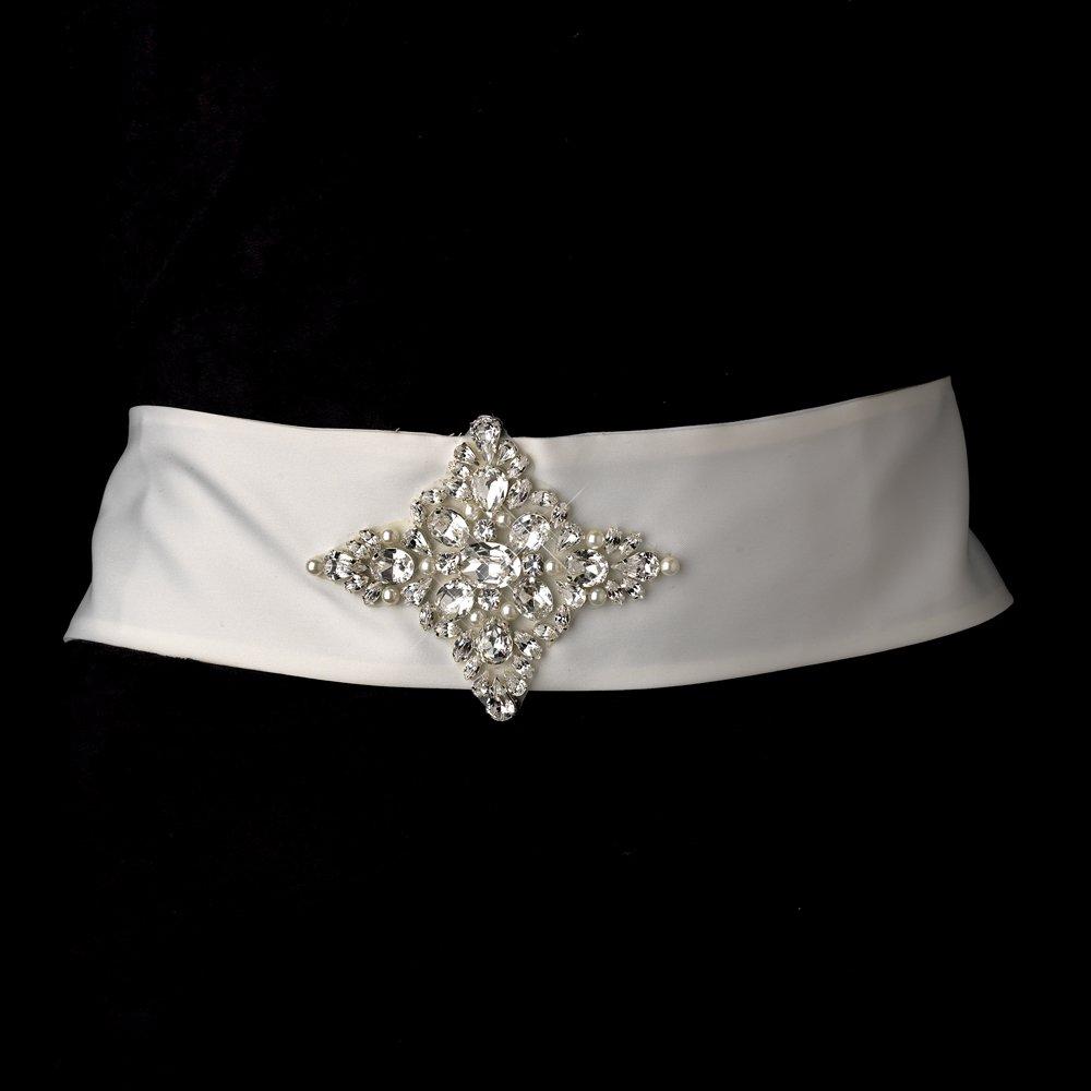 Beautiful Rhinestone & Pearl Wedding Bridal Sash Belt - White by Fairytale Bridal Accessories (Image #1)