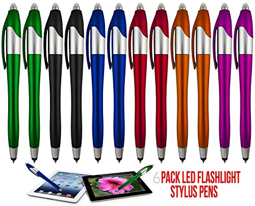 Price comparison product image Stylus Pen, 3-1 Multi-Function, Ball point Black Ink Pen, Capacitive Stylus for Touchscreen Devices, LED Flashlight, Medical Pen Light,For Home,Work,Doctors, and Nurses (6 Pack, Multi-Color)