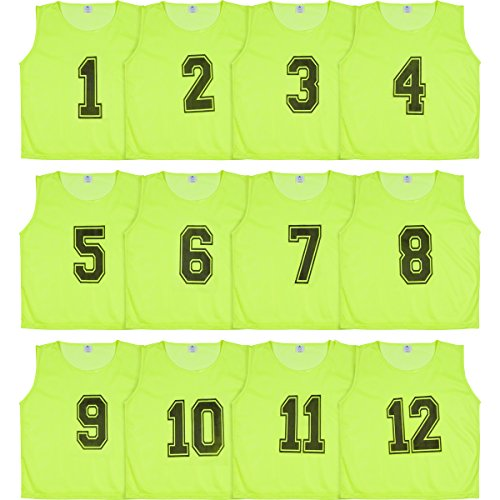 Athllete Set of 12- Scrimmage Vest/Pinnies / Team Practice Jerseys with Free Carry Bag. Sizes for Children, Youth, Adult and Adult XXL (Neon Yellow Numbered, Small)
