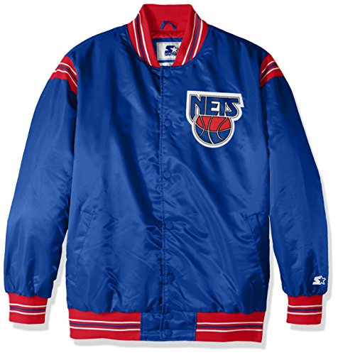 ey Nets Men's The Enforcer Retro Satin Jacket, X-Large, Royal ()