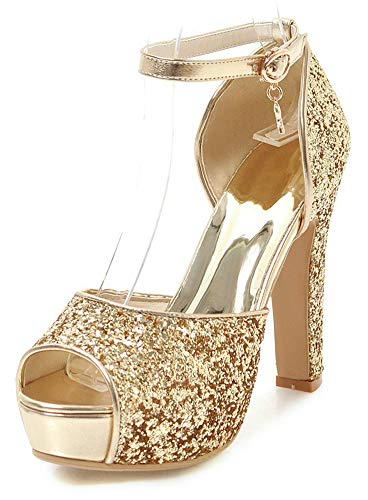 (SFNLD Women's Stylish Peep Toe Sequins Low Cut Platform Ankle Strap High Chunky Heel Sandals with Buckle Gold 9 M)