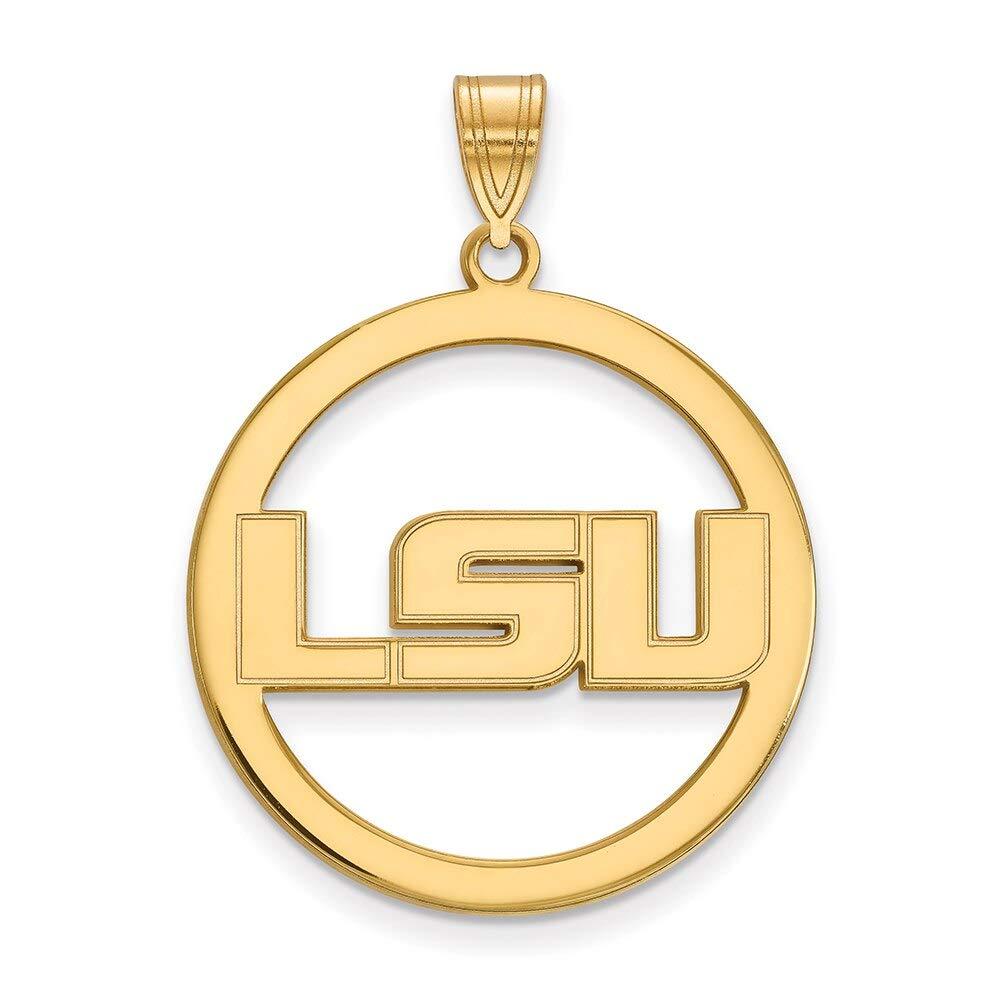 Lex /& Lu LogoArt Sterling Silver w//GP Louisiana State University L Pendant in Circle