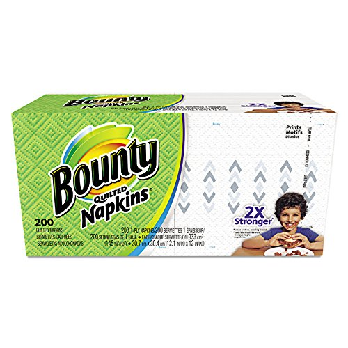 Bounty 34885 Quilted Napkins, 1-Ply, 12 1/10 x 12, White, 200/Pack