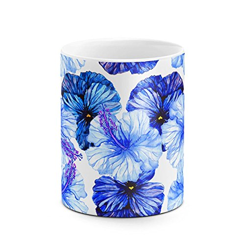 (Vintage Watercolor Blue Pansy Watercolor Floral Flowers Tumblr Boho Best Birthday or Anniversary Gifts Unique Present Idea Funny Christmas Gift Idea White Heat Resistant Ceramic Tea Coffee Mug - 11oz)