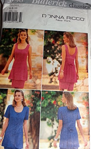 Misses Tunic Skirt Sewing Pattern Back Inset Pleated Lower Back Butterick 3996 Donna Ricco (6-8-10)