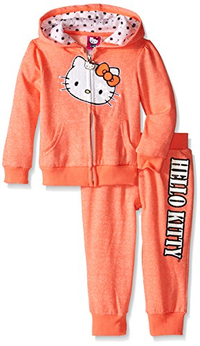 (Hello Kitty Little Girls' Toddler 2 Piece Hoodie and Pant Set, Neon Heather Coral, 3T)