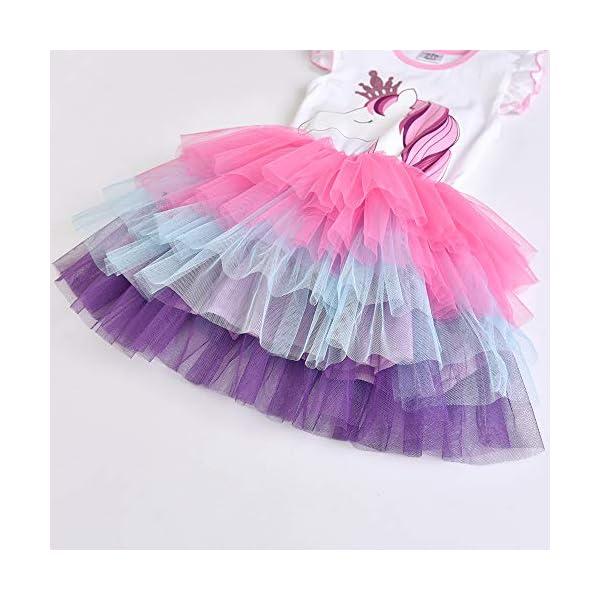 VIKITA Vestito Cotone Stampa Principessa Tulle Tutu Festa di Compleanno Abito Bambina 3