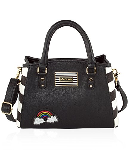 Betsey Johnson Iconic Patches Small Cross-body Satchel Bag - Stripes Bb17215