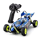 Playtech Logic Fast RC Cars Off Road Vehicle Climber 1:18 2WD High Speed Electric Radio Remote Control Racing Buggy Car Sturdy Kids Toys for Boys Girls Gifts Age 7 8 9 10 Years Up, 27Mhz Blue