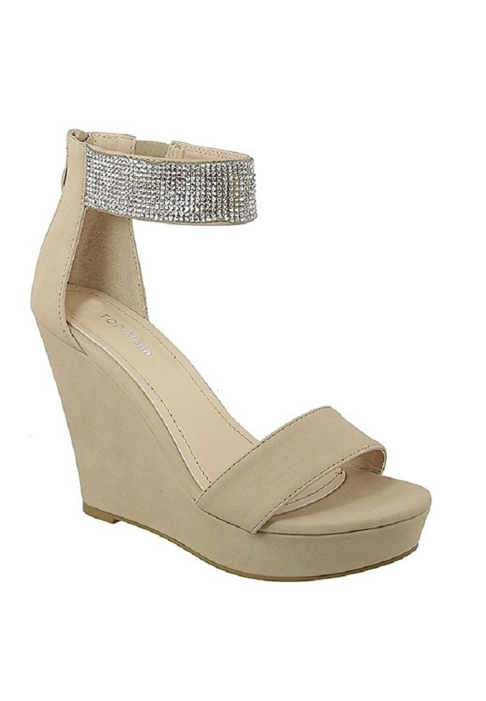 Top Moda BERYL-32 Women's Platform Wedge Fashion Sandals with Ankle Strap (8.5, Beige)