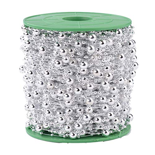 200FT 60M 8+3mm Fishing Line Artificial Pearls Beads String Roll,Pearl Beaded Trim Decoration for DIY Flower Tree Garland,Wedding Party,Bridal Bouquet,Christmas Gift and Hair Band (Silver Pearl)