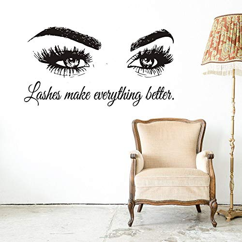 Wall Decal Beauty Salon Quote Sticker Lashes Make everything Better Beautiful Eyes Eyelashes Lashes Extensions Brows Wall Sticker Make Up Wall Window Mural AY1075 (BLACK, 57X103CM) by YOYOYU ART HOME DECOR (Image #4)