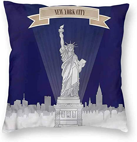 Amazon Com Houselook Usa Decorative Soft Square Throw Pillow Statue Of Liberty Sketch Ny Outdoor Cushion Pillow Case For Car 16 X 16 Inch Home Kitchen
